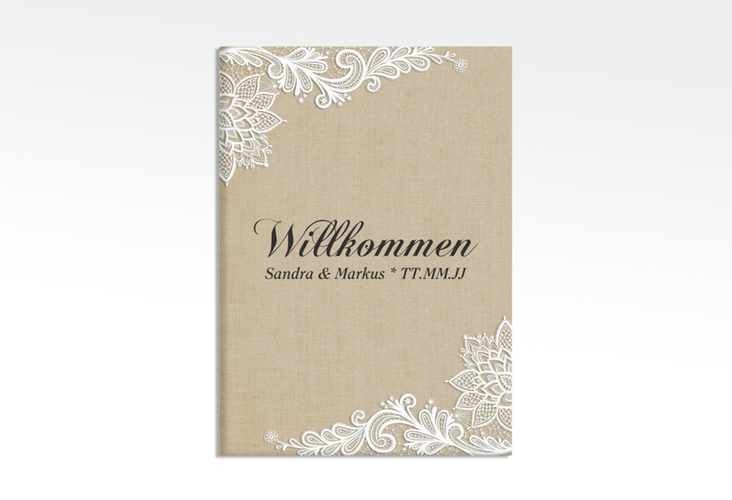 """Willkommensschild Leinwand """"Lace"""" 50 x 70 cm Leinwand beige"""
