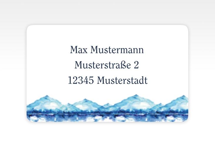 """Empfängeretikett Hochzeit """"Bergliebe"""" 63,5 x 38,1 mm blau"""