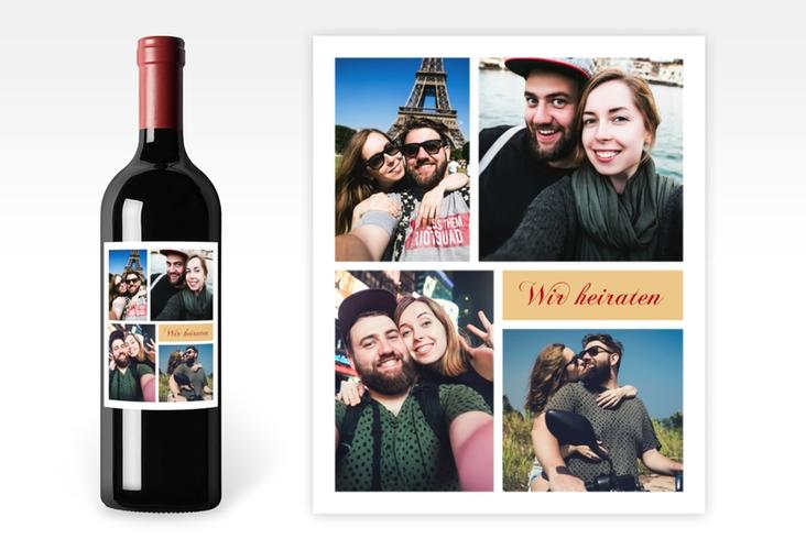 """Weinetikett zur Hochzeit """"Collage"""" Etikett Weinflasche 4er Set"""