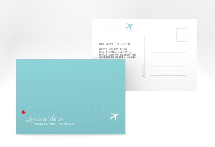 """Save the Date-Postkarte """"Weddingpass"""" A6 Postkarte blau"""