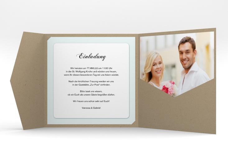 """Hochzeitseinladung """"Sweetheart"""" Pocketfold tuerkis"""