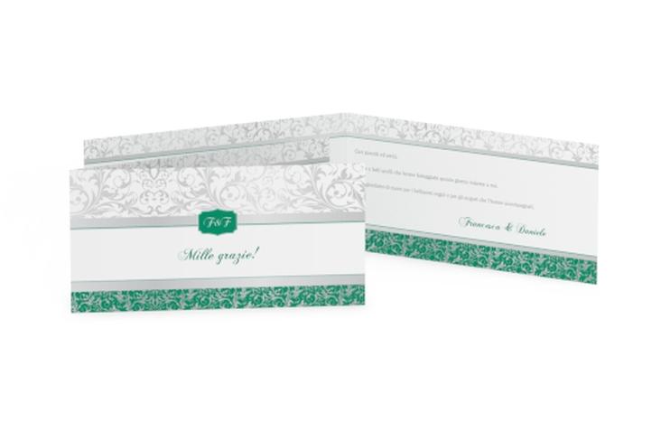 Ringraziamenti matrimonio collezione Latina DIN lang Klappkarte verde