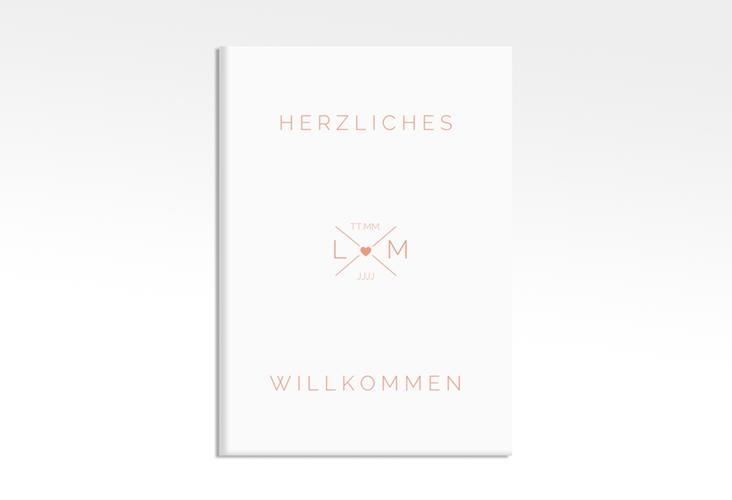 """Willkommensschild Hochzeit """"Initials"""" 50 x 70 cm Leinwand apricot"""