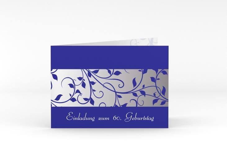 """Einladungskarte """"Hermann/Hermine"""" A6 Klappkarte Quer blau"""