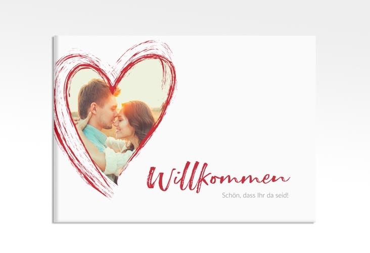 "Willkommensschild Leinwand ""Liebe"" 70 x 50 cm Leinwand rot"