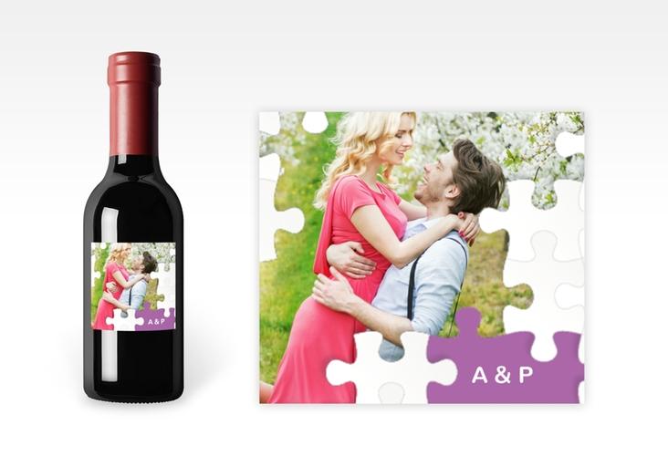 """Piccoloetikett Hochzeit """"Puzzle"""" Etikett Piccolo lila"""