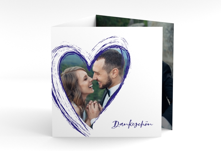 "Dankeskarte Hochzeit ""Liebe"" Quadr. Karte doppelt blau"