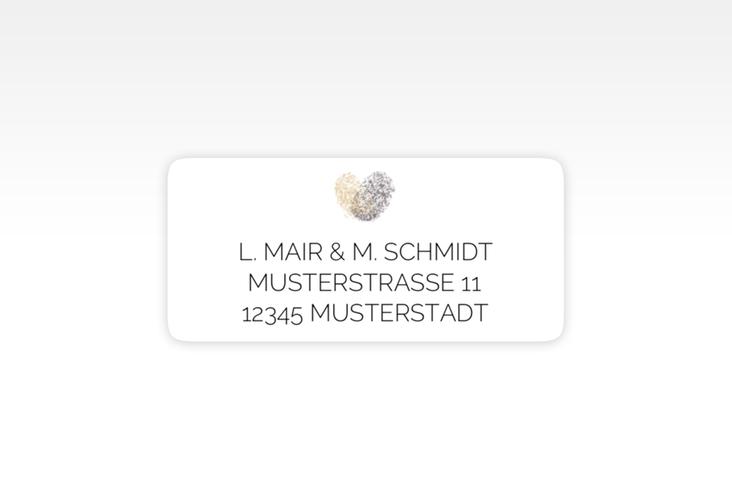 """Absenderetikett Hochzeit """"Fingerprint"""" 45,7 x 21,2 mm beige"""