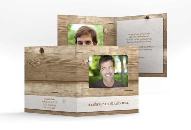 "Einladungskarte ""Michael/Michaela"" Quadratische Klappkarte"