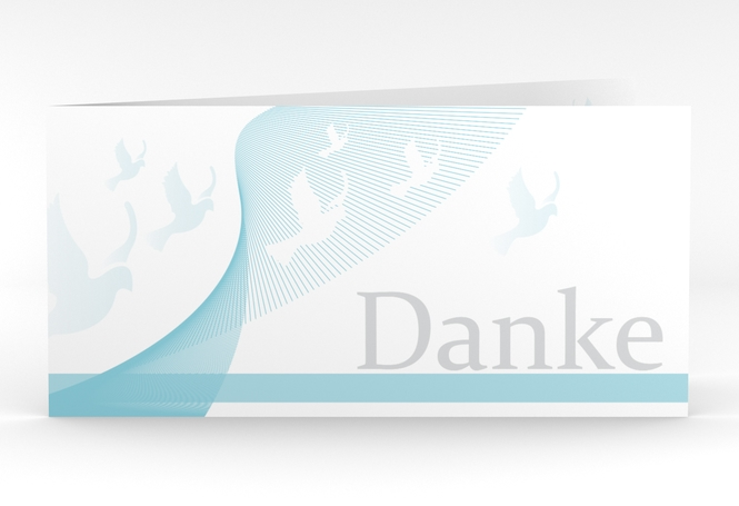 """Dankeskarte Taufe """"Doves"""" DIN lang Klappkarte"""