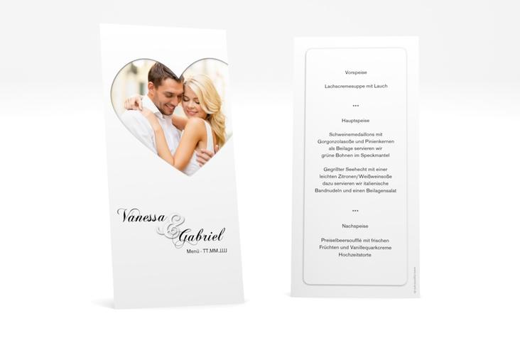 """Menükarte Hochzeit """"Sweetheart"""" DIN lang hoch weiss"""