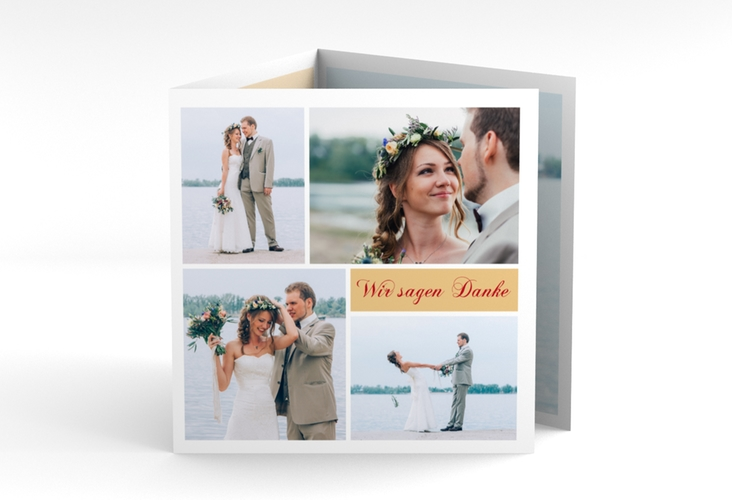 """Dankeskarte Hochzeit """"Collage"""" Quadr. Karte doppelt apricot"""