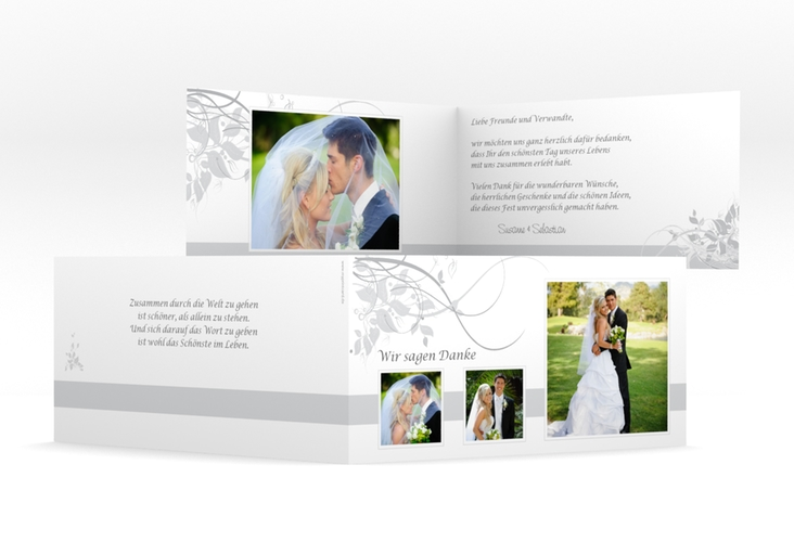 "Dankeskarte Hochzeit ""Florenz"" DIN lang Klappkarte grau"