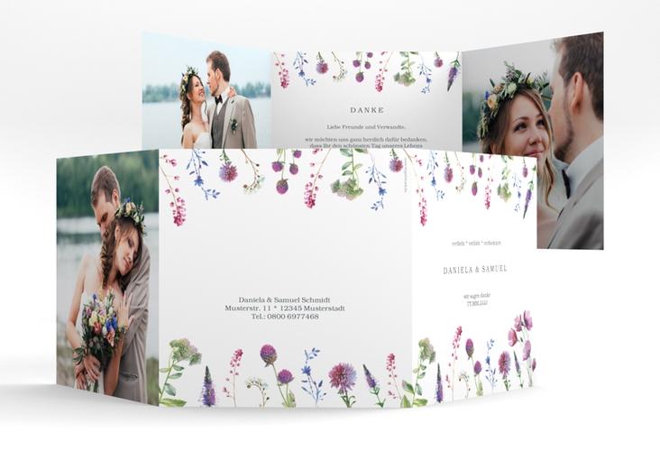 """Dankeskarte Hochzeit """"Wildblumen"""" Quadr. Karte doppelt weiss"""