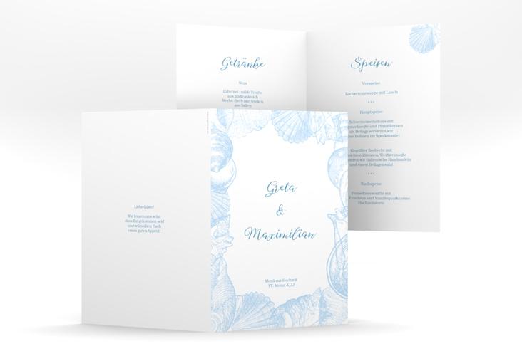 """Menükarte Hochzeit """"Muschelreich"""" DIN A5 geklappt blau"""