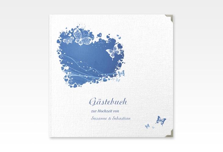 """Gästebuch Selection Hochzeit """"Mailand"""" Leinen-Hardcover blau"""