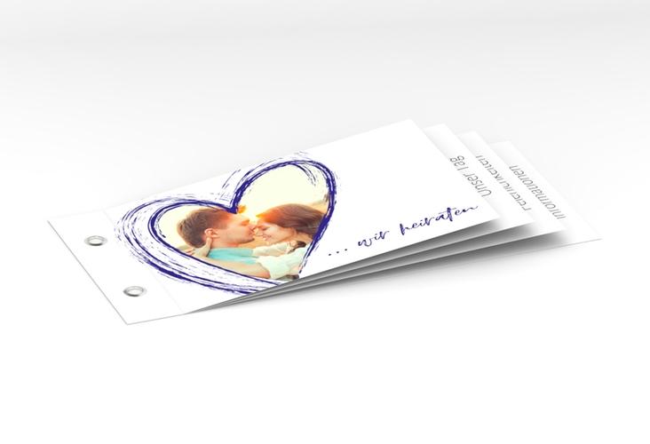 """Hochzeitseinladung """"Liebe"""" Booklet blau"""