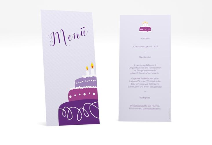 "Menükarte Geburtstag ""Cake"" DIN lang hoch flieder"