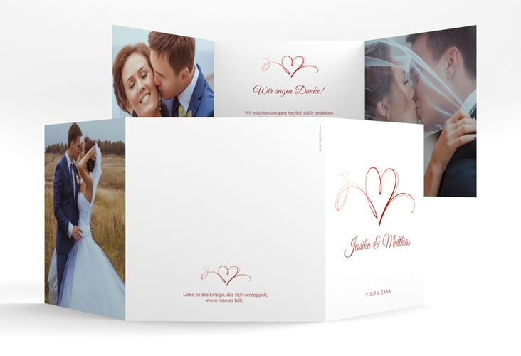 """Dankeskarte Hochzeit """"Envie"""" Quadr. Karte doppelt rot"""