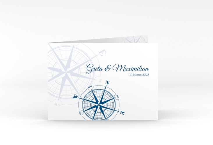 """Dankeskarte Hochzeit """"Windrose"""" A6 Klappkarte Quer blau"""
