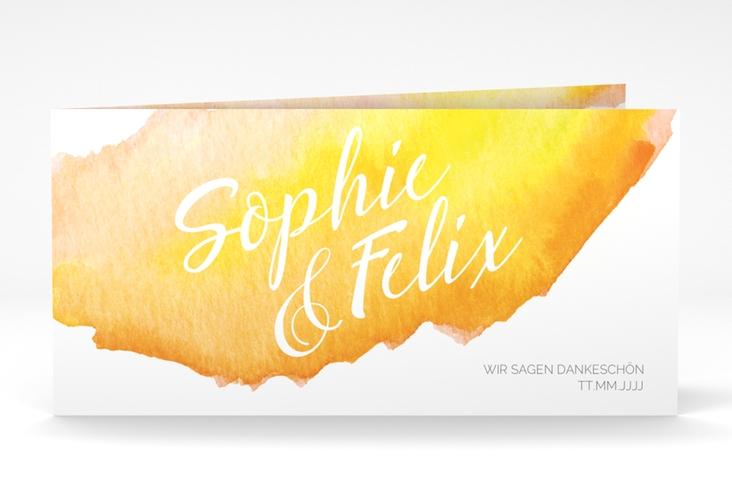 "Dankeskarte Hochzeit ""Aquarella"" DIN lang Klappkarte gelb"