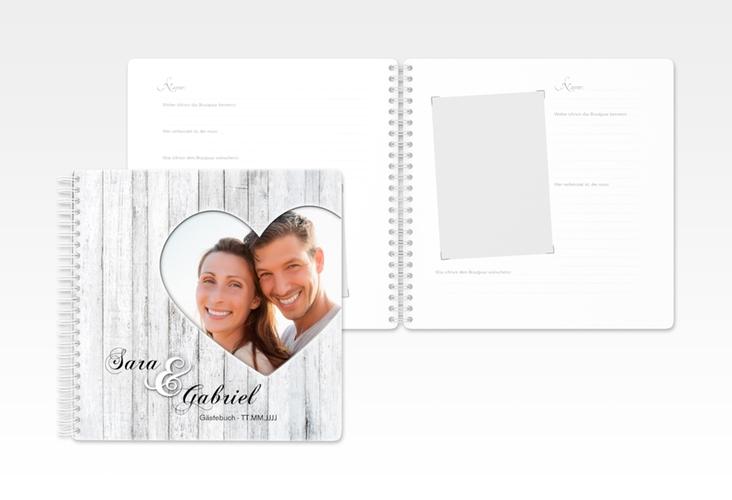 "Gästebuch Hochzeit ""Herz"" Ringbindung weiss"