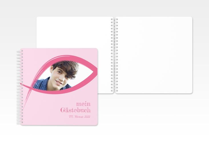 "Gästebuch Konfirmation ""Frieden"" Ringbindung rosa"