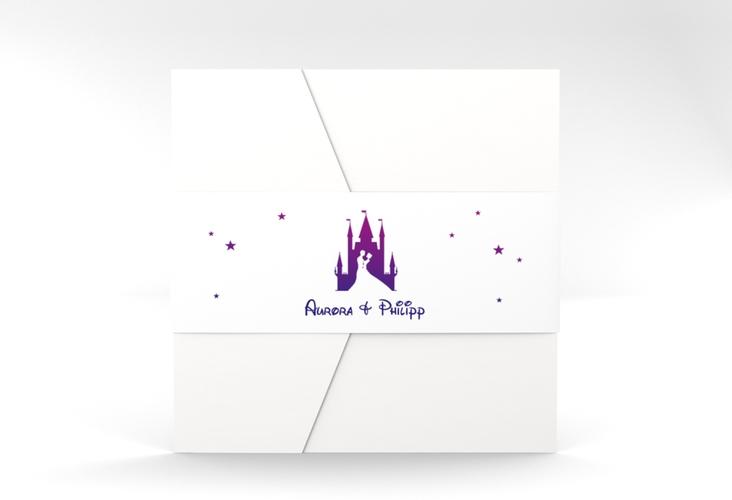 """Hochzeitseinladung """"Castle"""" Pocketfold lila"""