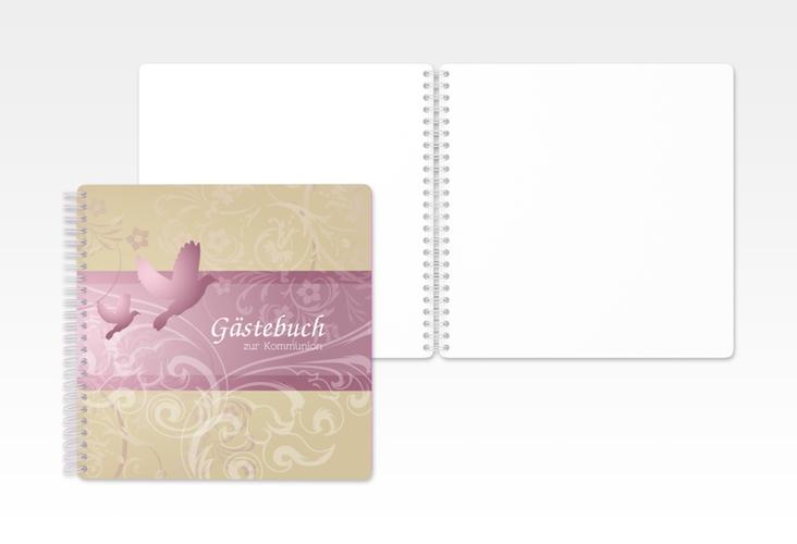 "Gästebuch Kommunion ""Columba"" Ringbindung rosa"
