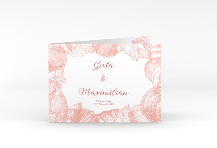 """Danksagungskarte Hochzeit """"Muschelreich"""" A6 Klappkarte Quer rot"""
