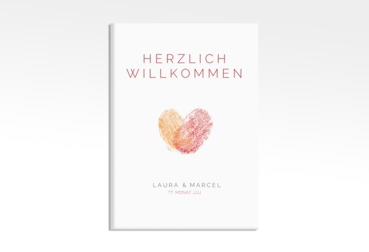 """Willkommensschild Leinwand """"Fingerprint"""" 50 x 70 cm Leinwand rot"""