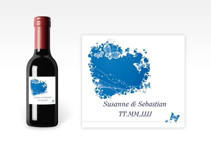 "Piccoloetikett Hochzeit ""Mailand"" Etikett Piccolo blau"