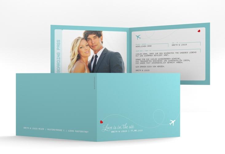 "Dankeskarte Hochzeit ""Weddingpass"" A6 Klappkarte Quer blau"