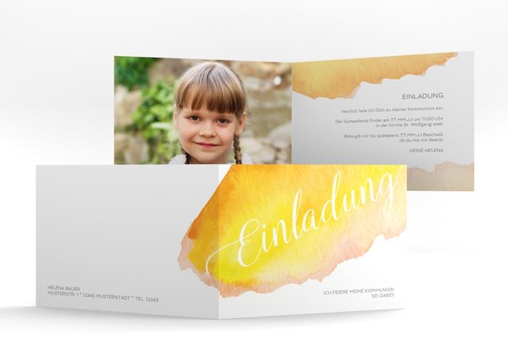 """Einladungskarte Kommunion """"Lucky"""" A6 Klappkarte Quer gelb"""