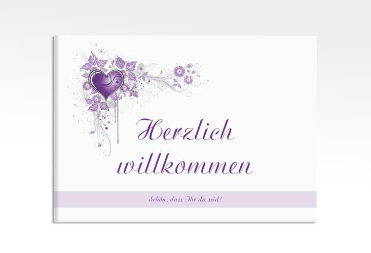"Willkommensschild Leinwand ""Triest"" 70 x 50 cm Leinwand lila"