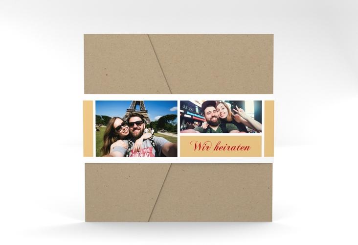 """Hochzeitseinladung """"Collage"""" Pocketfold apricot"""