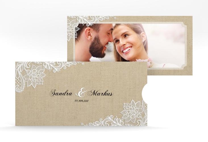 """Hochzeitseinladung """"Lace"""" Einsteckkarte beige"""