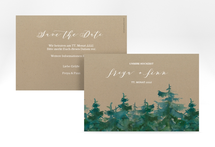 "Save the Date-Karte ""Evergreen"" A6 quer braun"