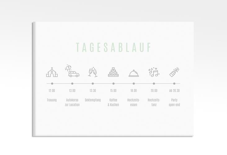 "Tagesablauf Leinwand Hochzeit ""Memory"" 70 x 50 cm Leinwand mint"