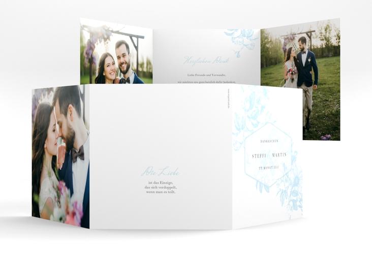"Dankeskarte Hochzeit ""Magnificent"" Quadr. Karte doppelt tuerkis"