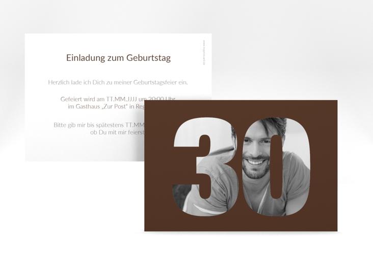 "Einladungskarte ""Numbers"" A6 quer braun"