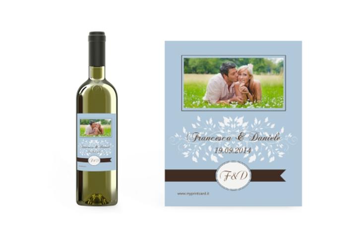 Etichette vino matrimonio collezione Malaga Etikett Weinflasche 4er Set blu