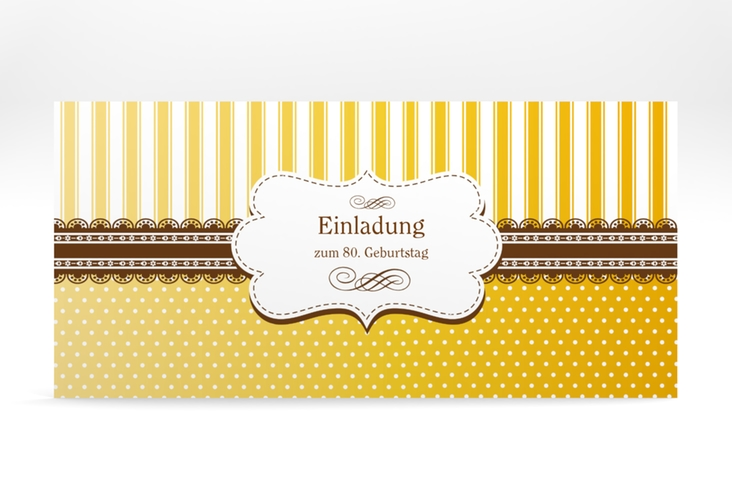 """Einladungskarte """"Heinrich/Henriette"""" DIN lang gold"""