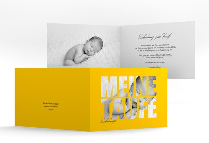 """Einladungskarte Taufe """"Blessing"""" A6 Klappkarte Quer gelb"""