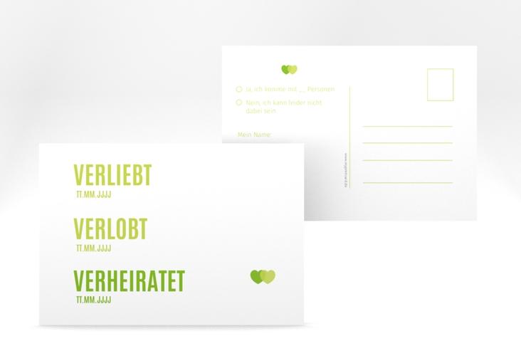 """Antwortkarte Hochzeit """"Couple"""" A6 Postkarte gruen"""