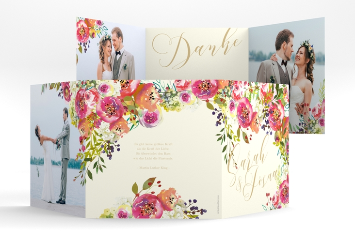 "Dankeskarte Hochzeit ""Flowerbomb"" Quadr. Karte doppelt beige"