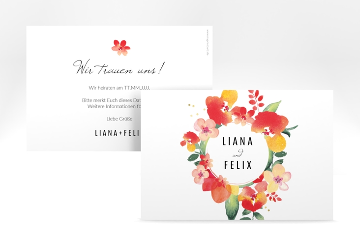 """Save the Date-Karte Hochzeit  """"Exotic"""" A6 quer"""