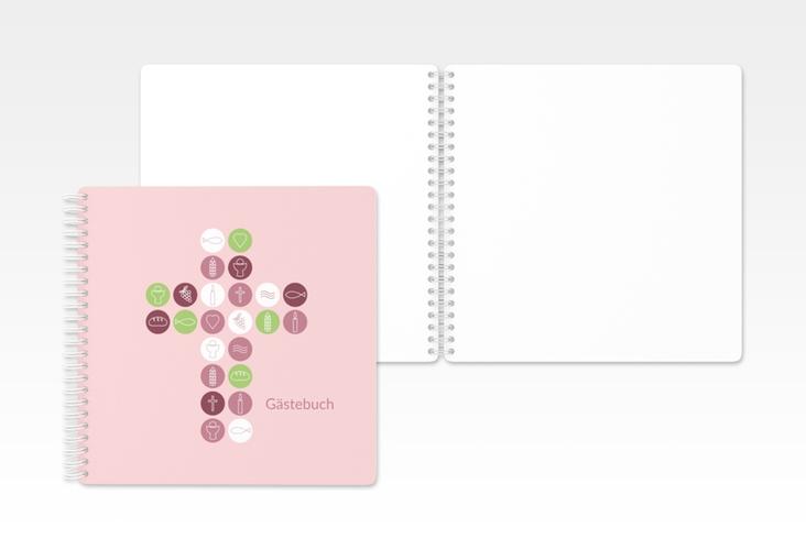 """Gästebuch Konfirmation """"Gemeinschaft"""" Ringbindung rosa"""