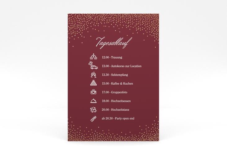"""Tagesablauf Poster Hochzeit """"Glitter"""" 50 x 70 cm Poster rot"""