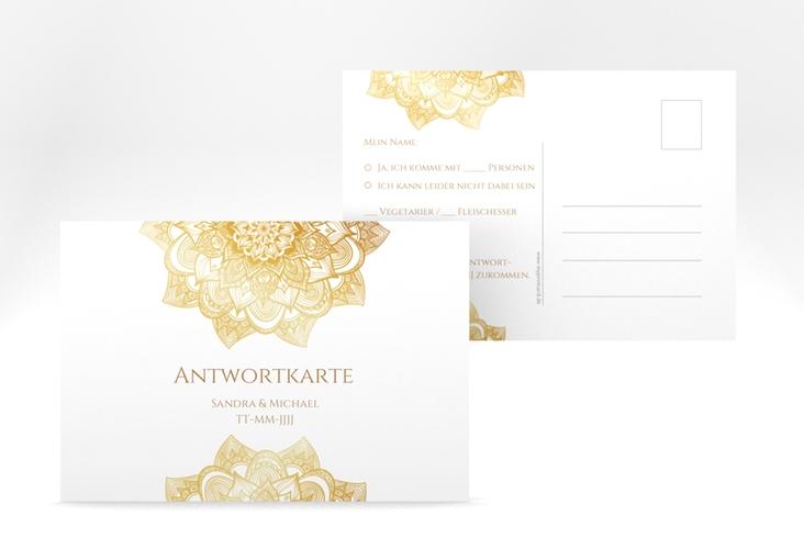 """Antwortkarte Hochzeit """"Delight"""" A6 Postkarte gold"""